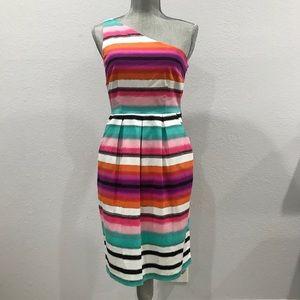 London Times One Strap Multicolor Striped Dress